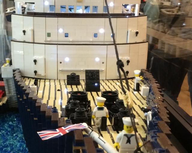 Lego men attacking British Navyship