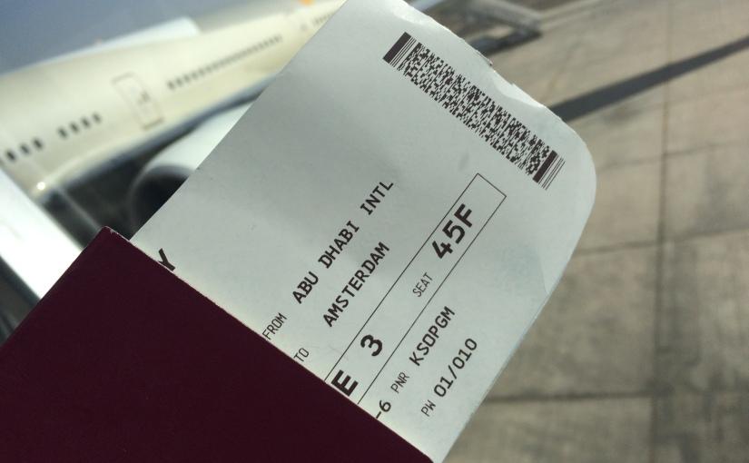 Leaving Australia: Flying Abu Dhabi, Amsterdam, London with one hourssleep!