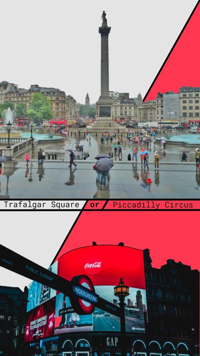 trafalgar square vs piccadilly circus