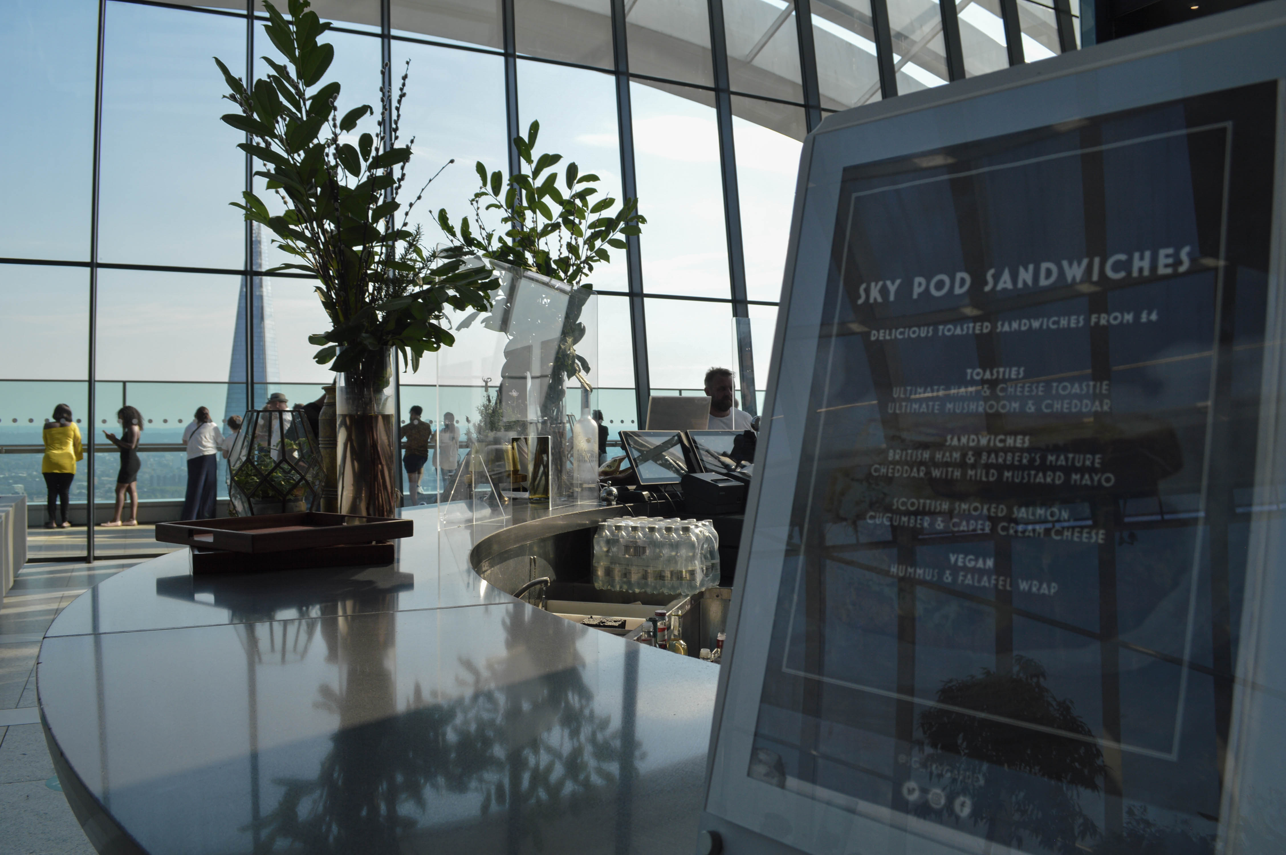 Sky Pod bar looking out to the Shard