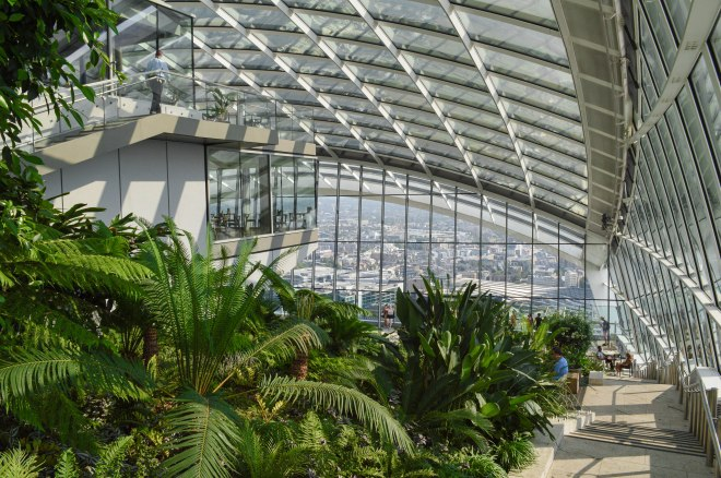 View of Sky Garden looking down steps from the top