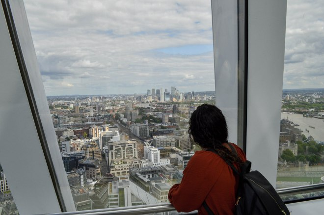 My friend looking out to Canary Wharf
