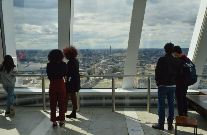 Visitors looking out to St Pauls Cathedral