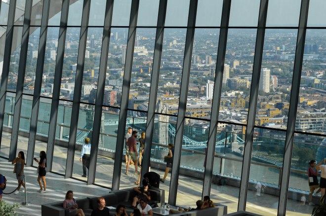 Tower Bridge in distance, as seen from inside
