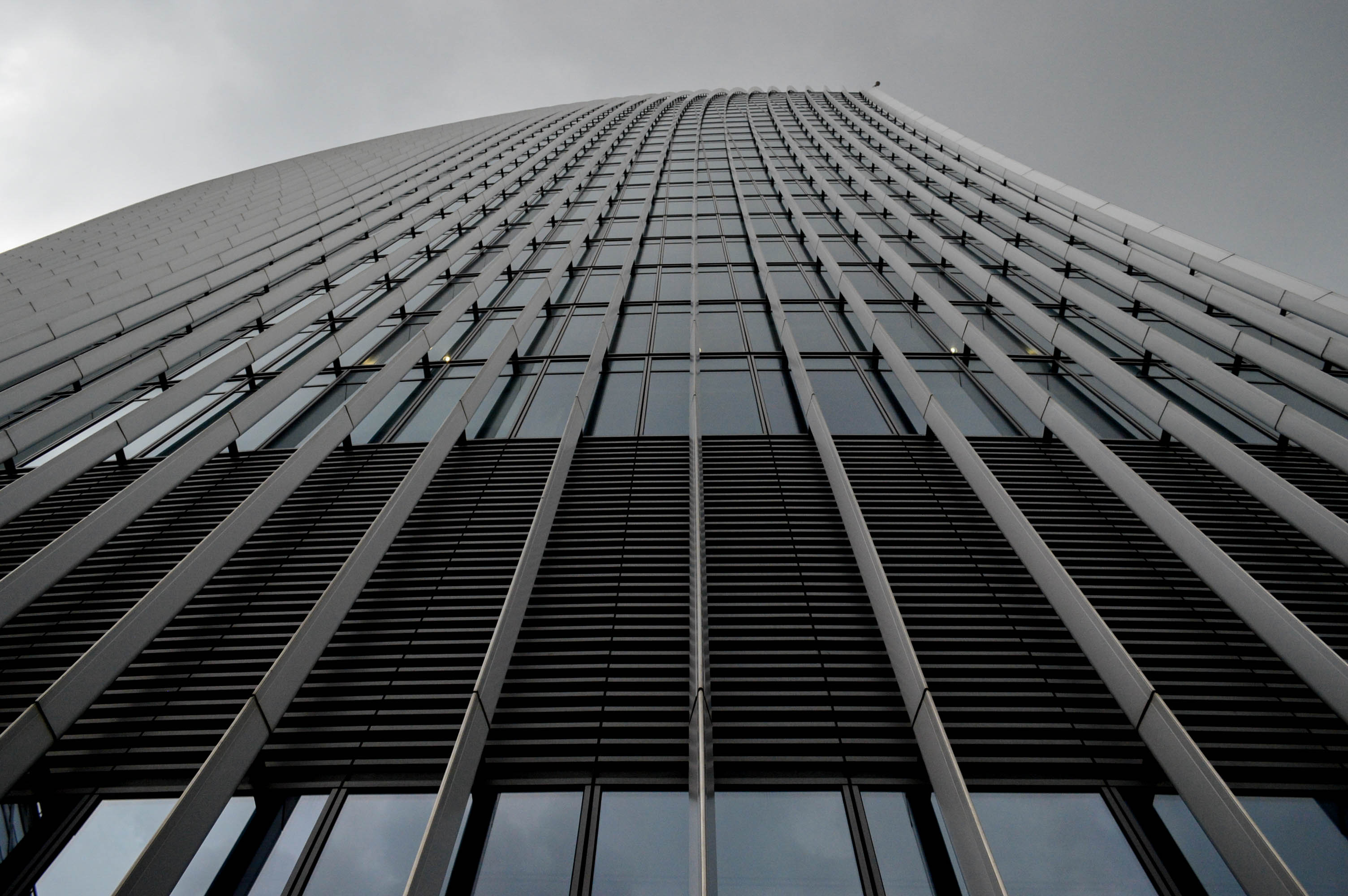 Looking up to the building from directly below