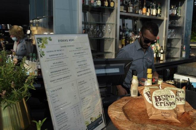 Sky Pod Bar menu and bartender